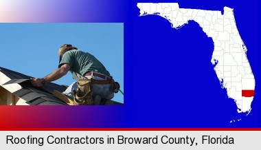 a roofing contractor installing asphalt roof shingles; Broward County highlighted in red on a map