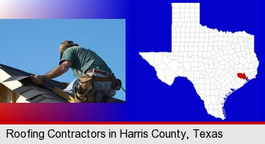 a roofing contractor installing asphalt roof shingles; Harris County highlighted in red on a map